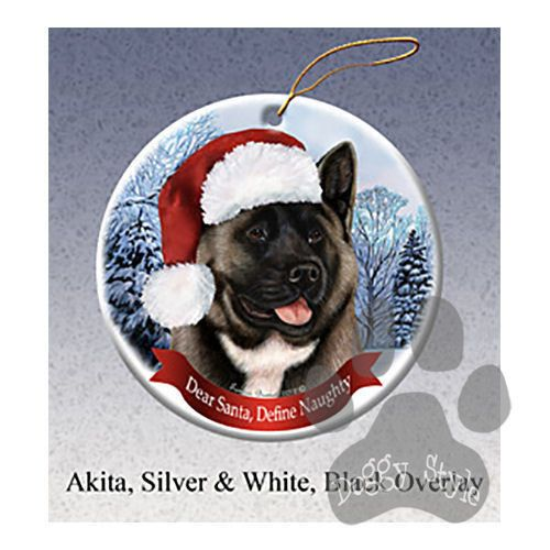 Akita Silver And Black Howliday Dog Christmas Ornament Holiday Pet Gifts Dog Christmas Ornaments Pet Holiday