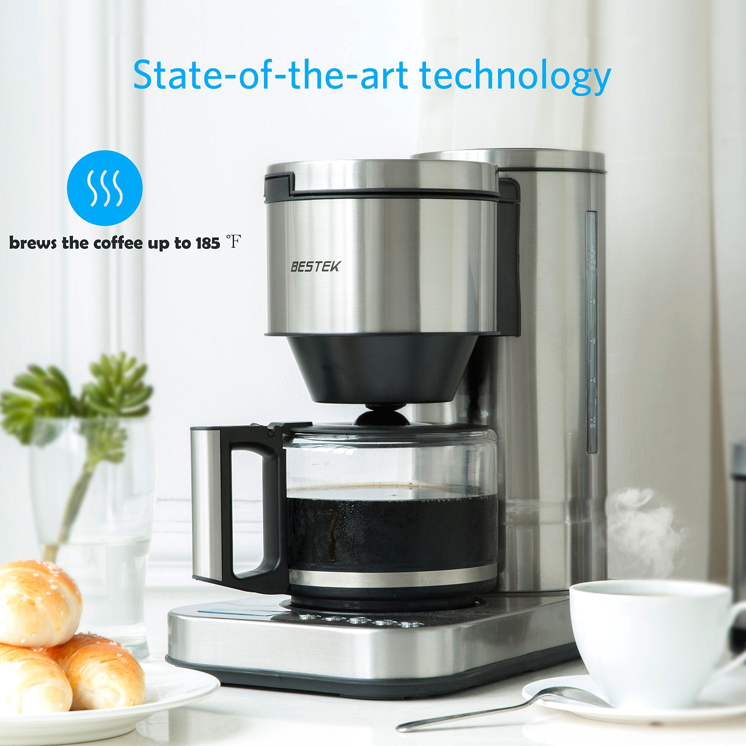 Bestek cup drip coffee maker in stainless steel programmable and