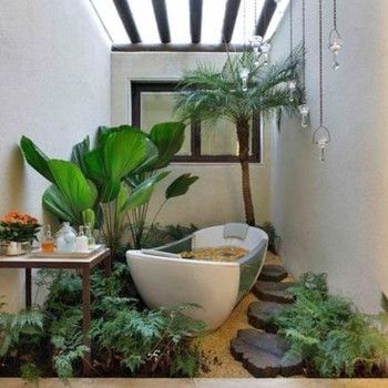 tropical looking outdoor pebble bathroom and shower - Google Search