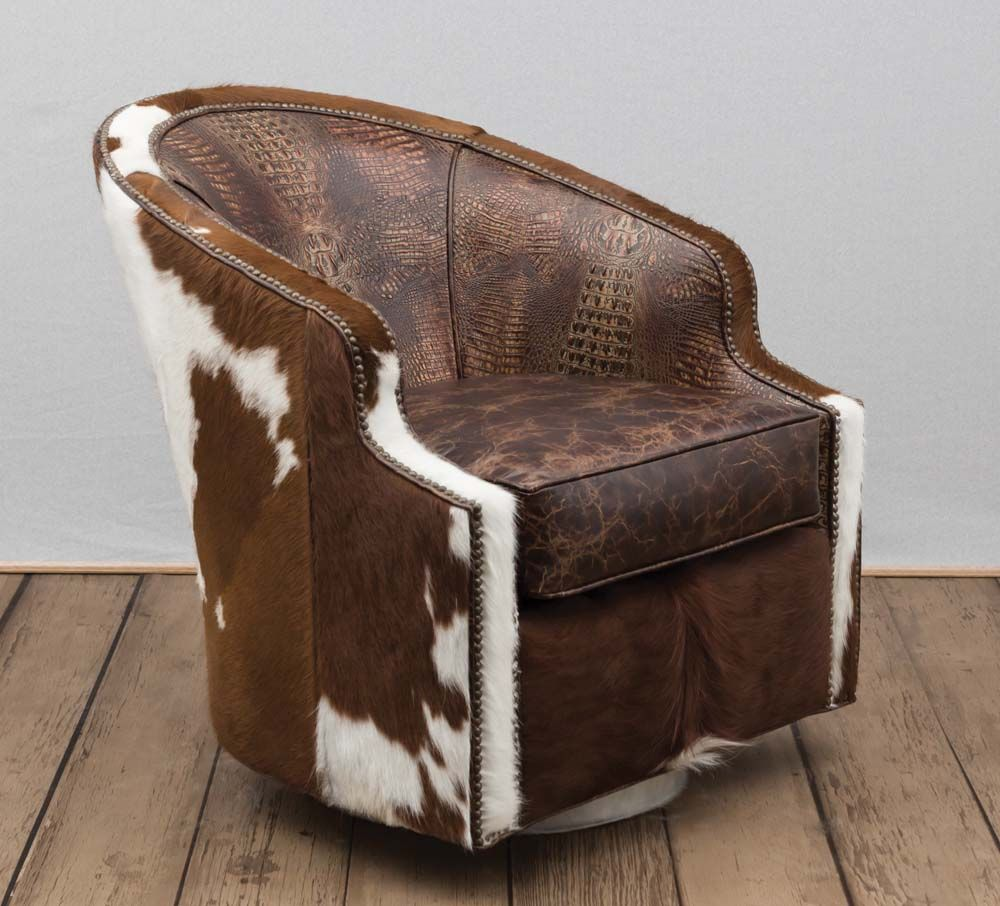 Broken Arrow Swivel Chair Affordable Leather Chair Leather Swivel Chair Cowhide Chair