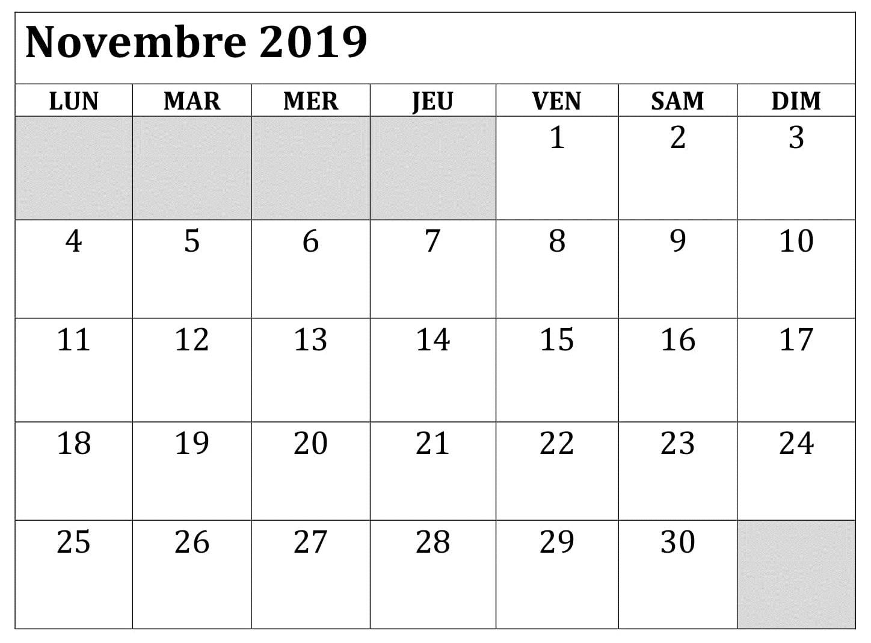 Calendrier 2019 Png.Calendrier 2019 Document Novembre Calendar 2019 Printable