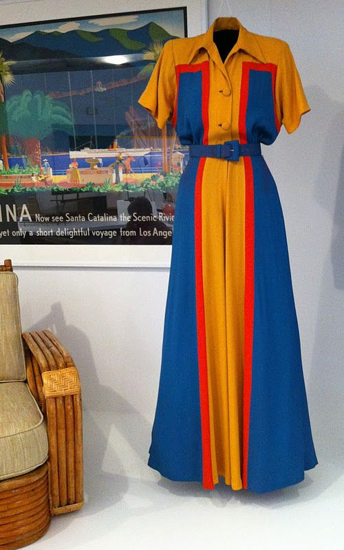b77afe85235 40s color block pantsuit jumpsuit wide leg pants hostess wear top short  sleeves blue gold orange belt button front museum quality lounge wear