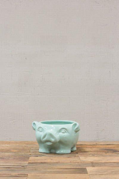 CERAMIC PIG BOWL-LIGHT BLUE  $25.00