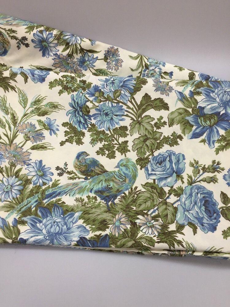 Vintage Waverly Home Decor Fabric WHITTON COURT Blue Pheasant Birds 5 Yards