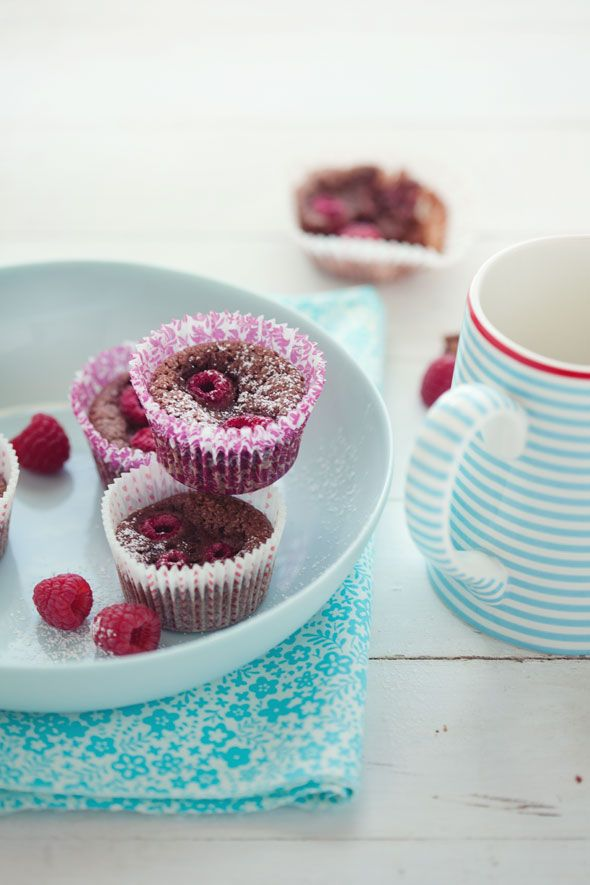 Chocolate and Raspberry Financiers.  #Recipes #Gluten-Free