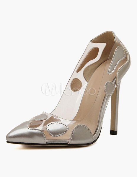 Semi-sheer PU Leather Stiletto High Heels - Milanoo.com
