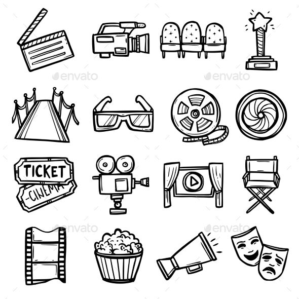Cinema Icons Set Movie Tattoos Movie Tattoo Film Strip