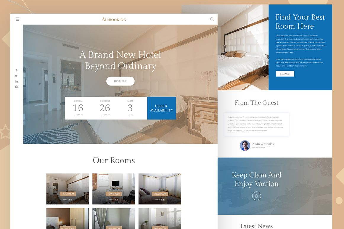 Online Free Hotel Booking Website Psd Template Free Templates