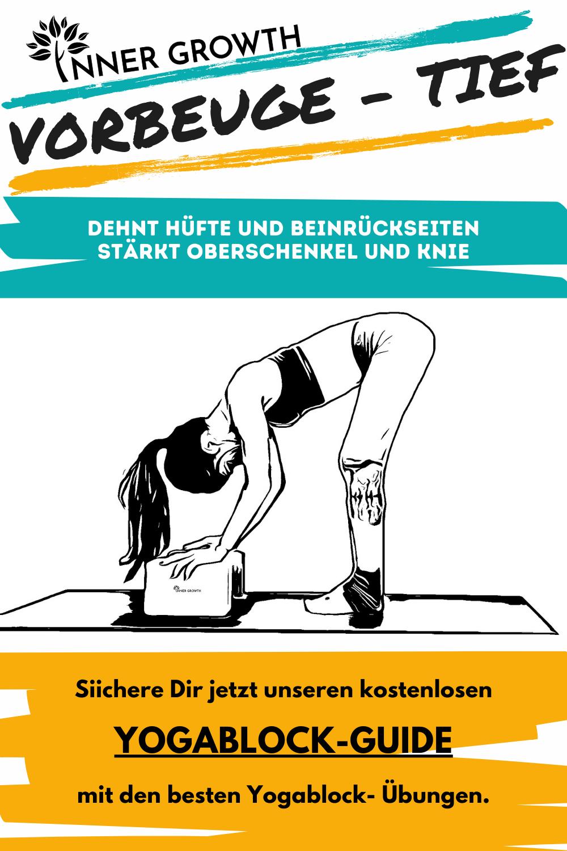 Mit der Vorbeuge dehnst Du deine Beinrückseiten, Hüfte, Gesäß und deinen unteren Rücken. Verweile hier ein wenig um deine Wirbelsäule zu entlasten.  #yogaprops #yogablöcke #yoga #sustainability #nachhaltigkeit #yogafueranfaenger #yogaforbeginners #flexibility #mindfulness