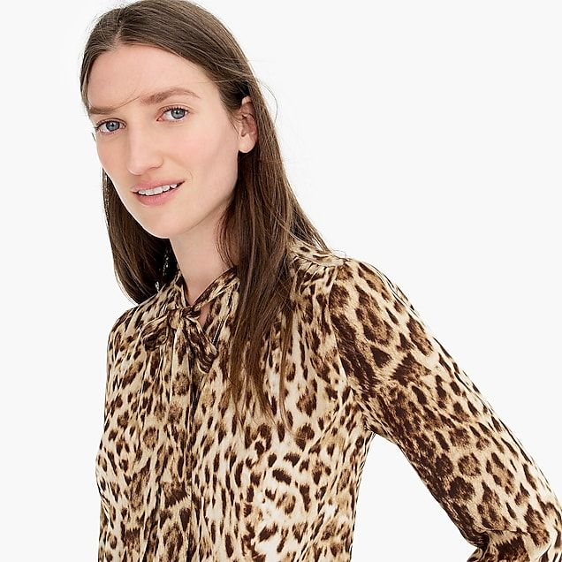 c8189d282cdba Tie-neck button-up shirt in leopard print - Women s Shirts