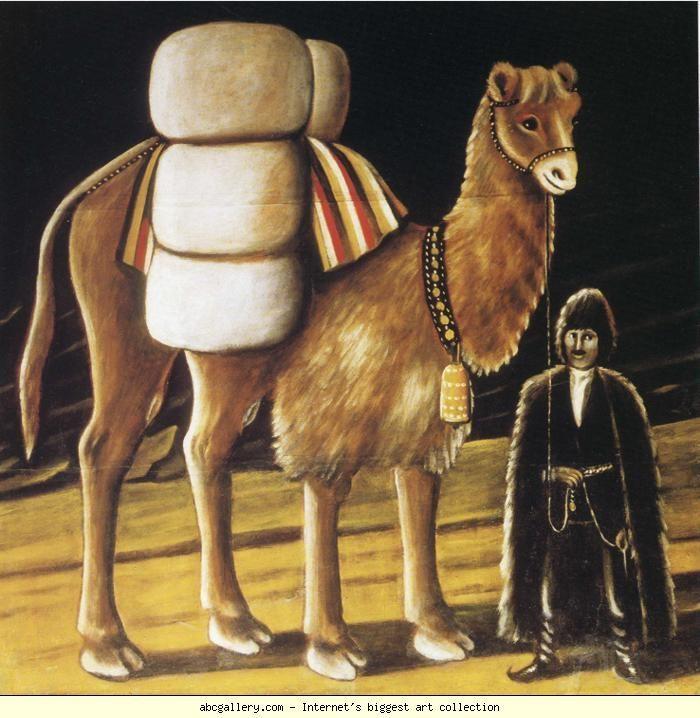 Niko Pirosmani. Tatar - Camel Driver. Olga's Gallery. Oil on oilcloth. State Art Museum of Georgia, Tbilisi, Georgia.  Arte Naif