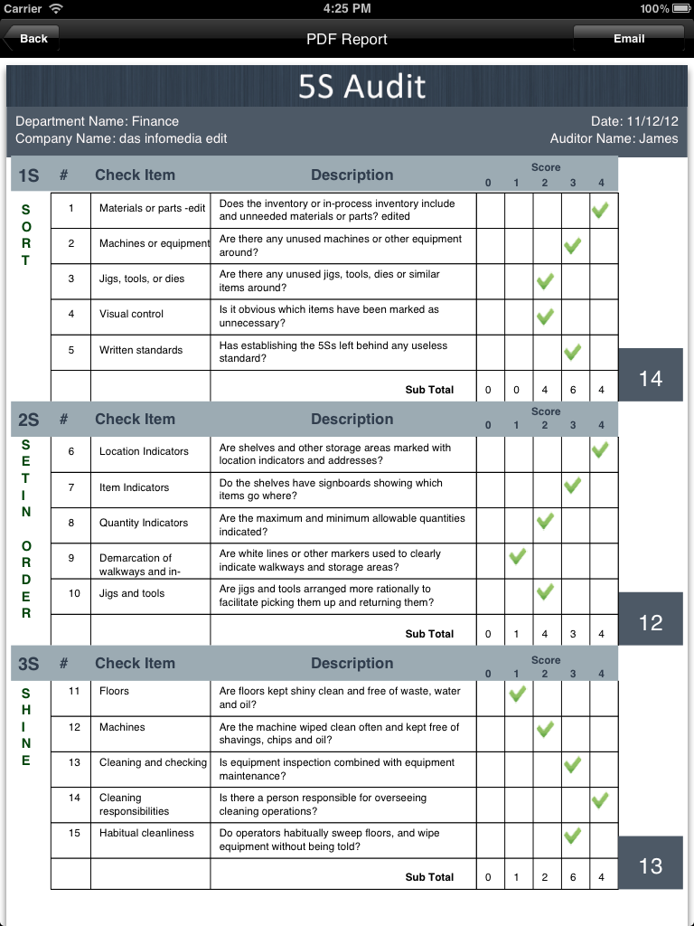 standardized work audit form lean