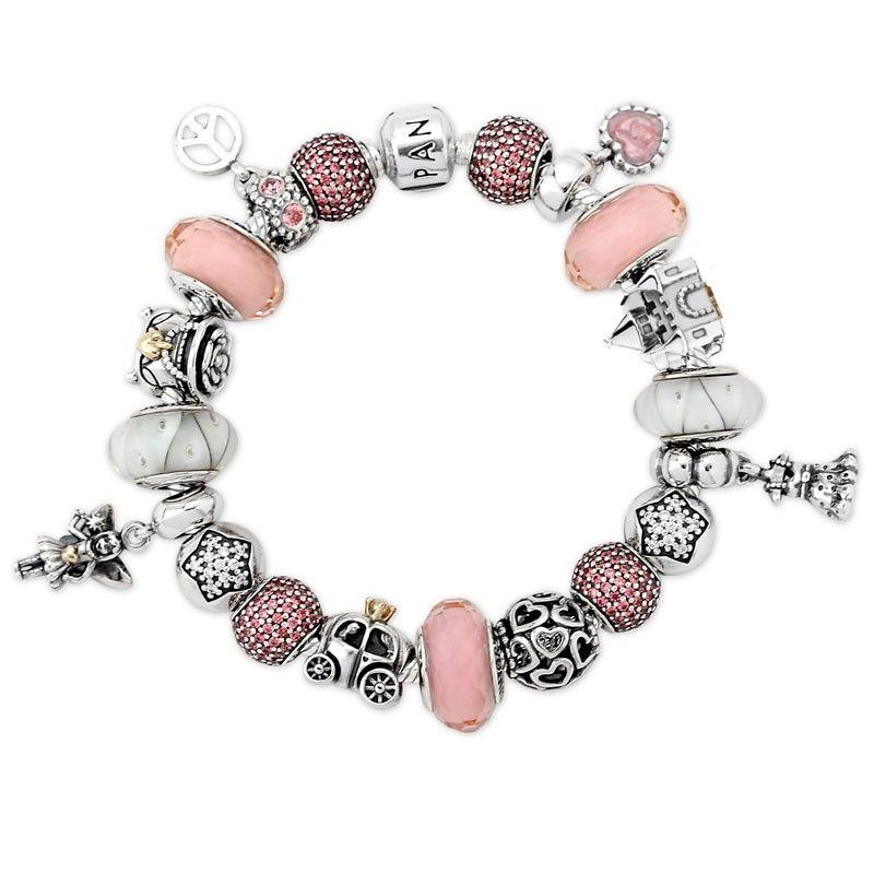 A Significant For Pandora Pink Princess Charm Bracelet Z0xjeq