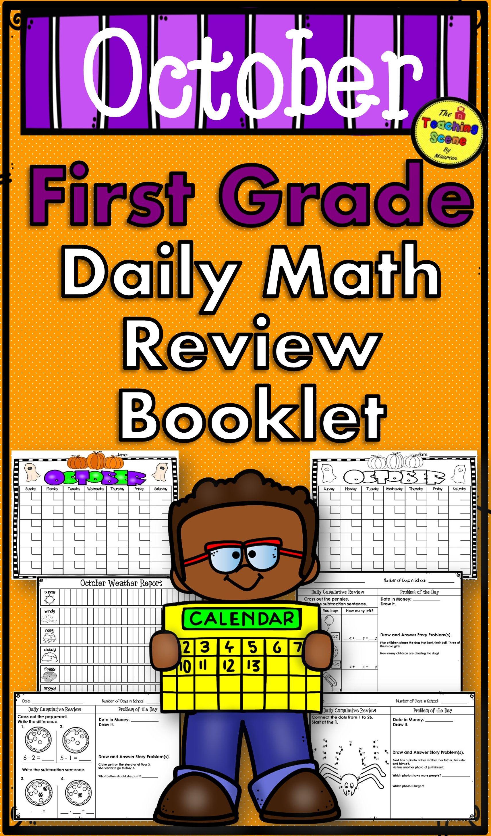 First Grade Daily Calendar Amp Math Review Booklet October