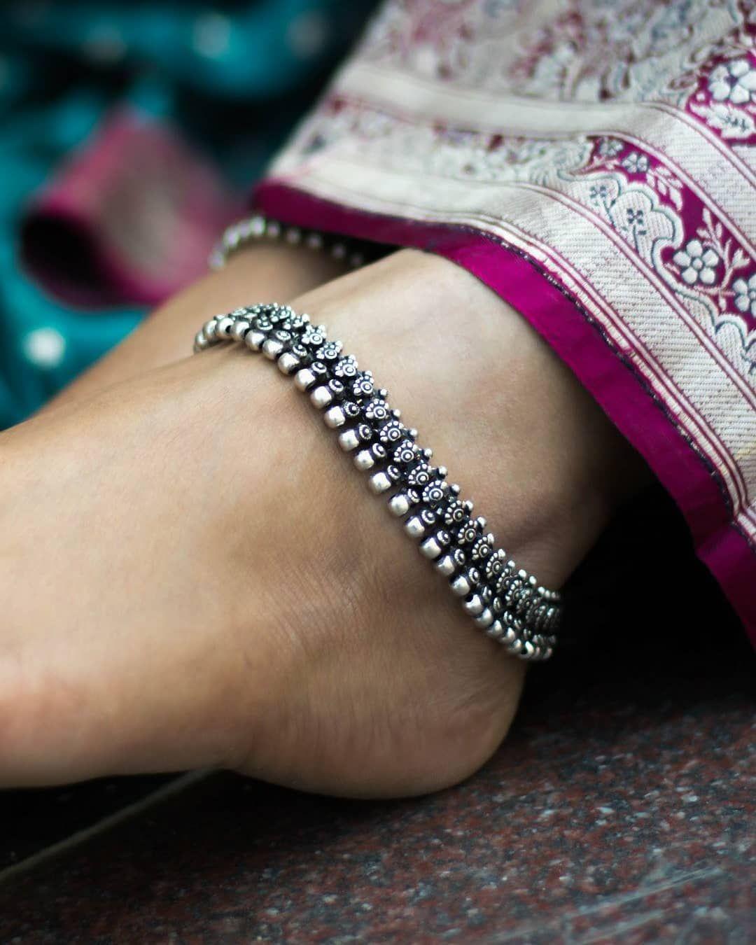 German Silver Oxidised Anklets
