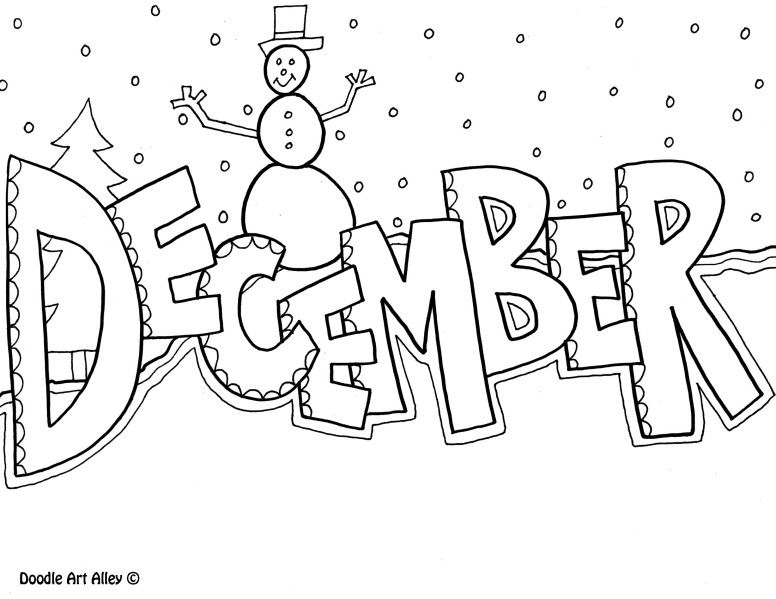 December Coloring Pages For Kids AusmalenEnglischSchule