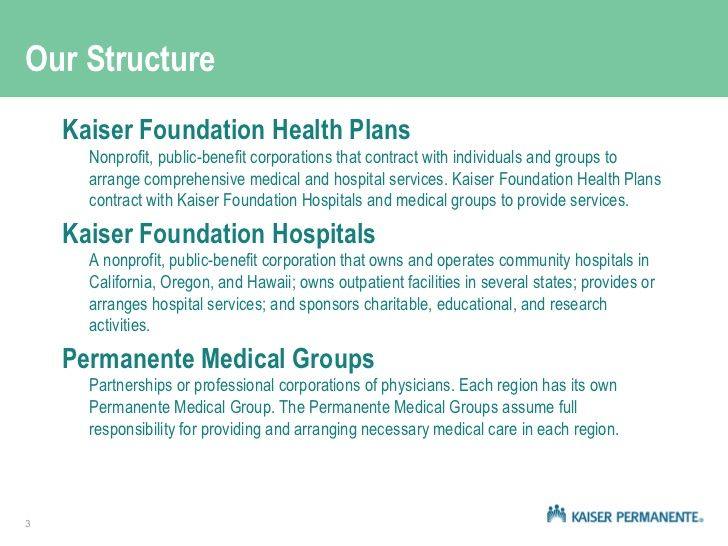 kaiser permanente health plan benefits health Pinterest - hospital organizational chart