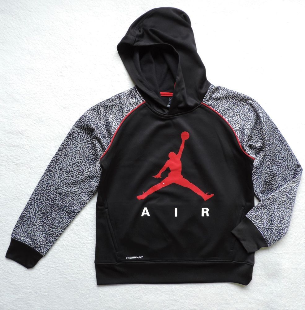 cd7af53e42d8 Details about Nike Jordan Big Boy s Elephant Print Therma Fit Hoodie ...