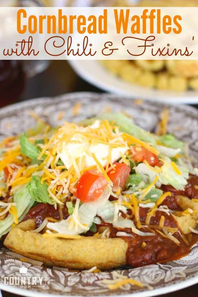 CORNBREAD WAFFLES WITH CHILI  FIXINS  dinner