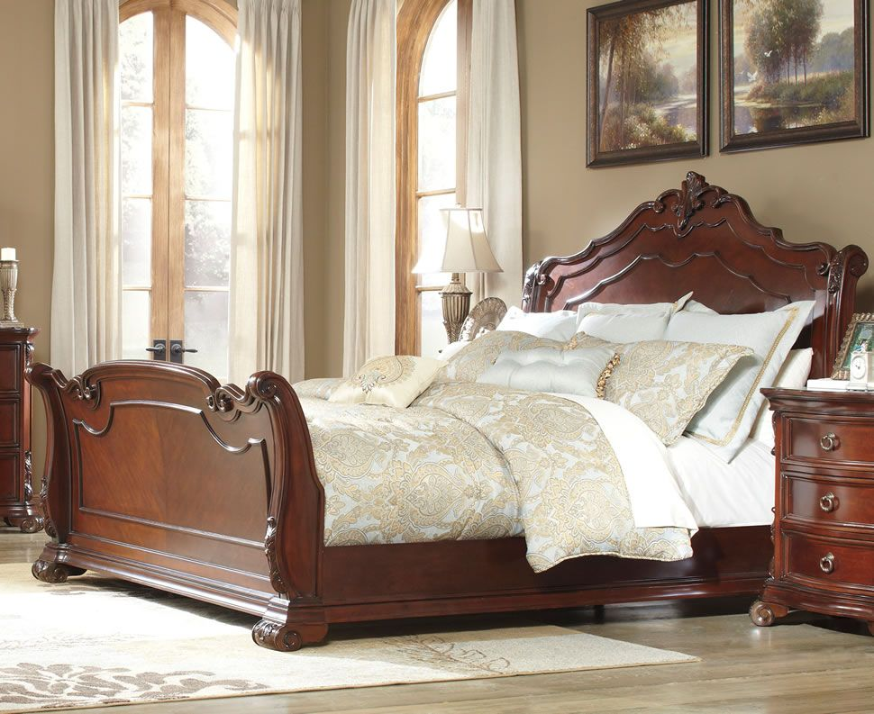 Master Bedroom Decor Martanny Sleigh King Bed by Ashley Furniture
