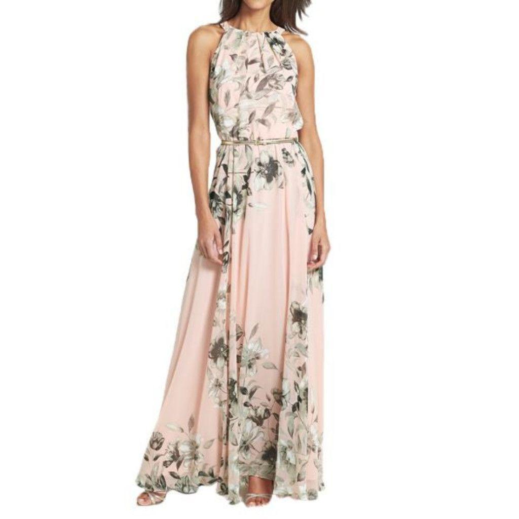 Long Floral Print Halter Chiffon Women Boho Dress With Belt ...