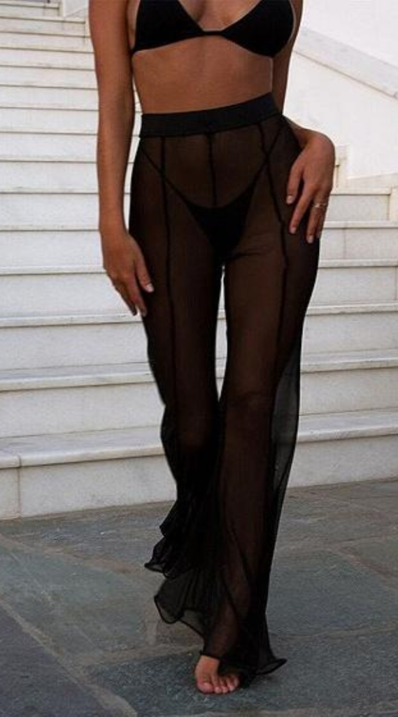 5a5ae7671aab90 High Waist Sheer Mesh Flare Pants in 2019 | 2019 Most Trending ...