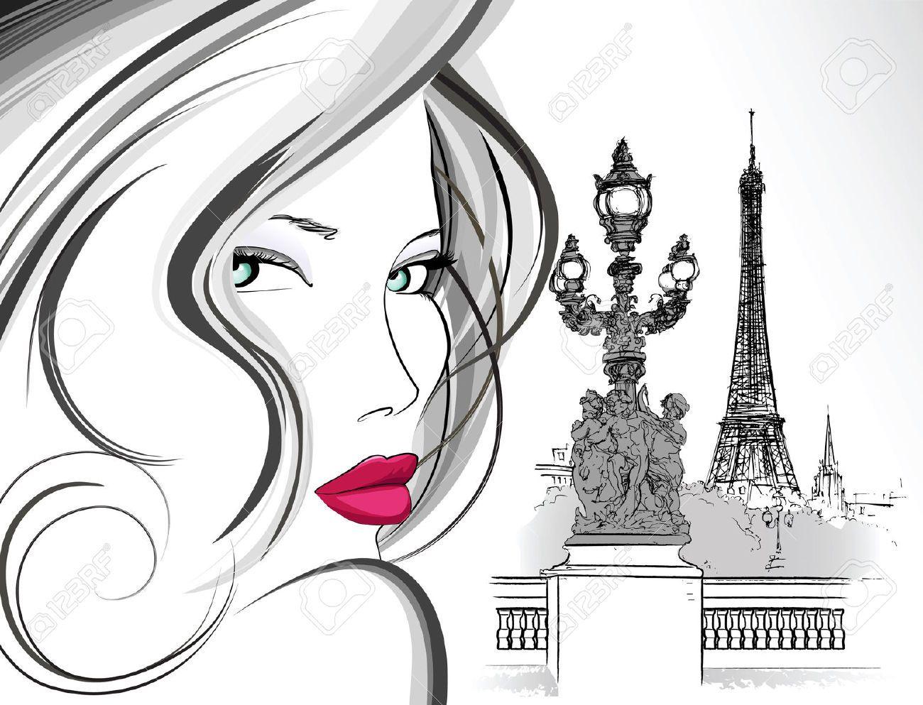 Illustration de la femme sur pont alexandre paris stylo - Dessin parisienne ...