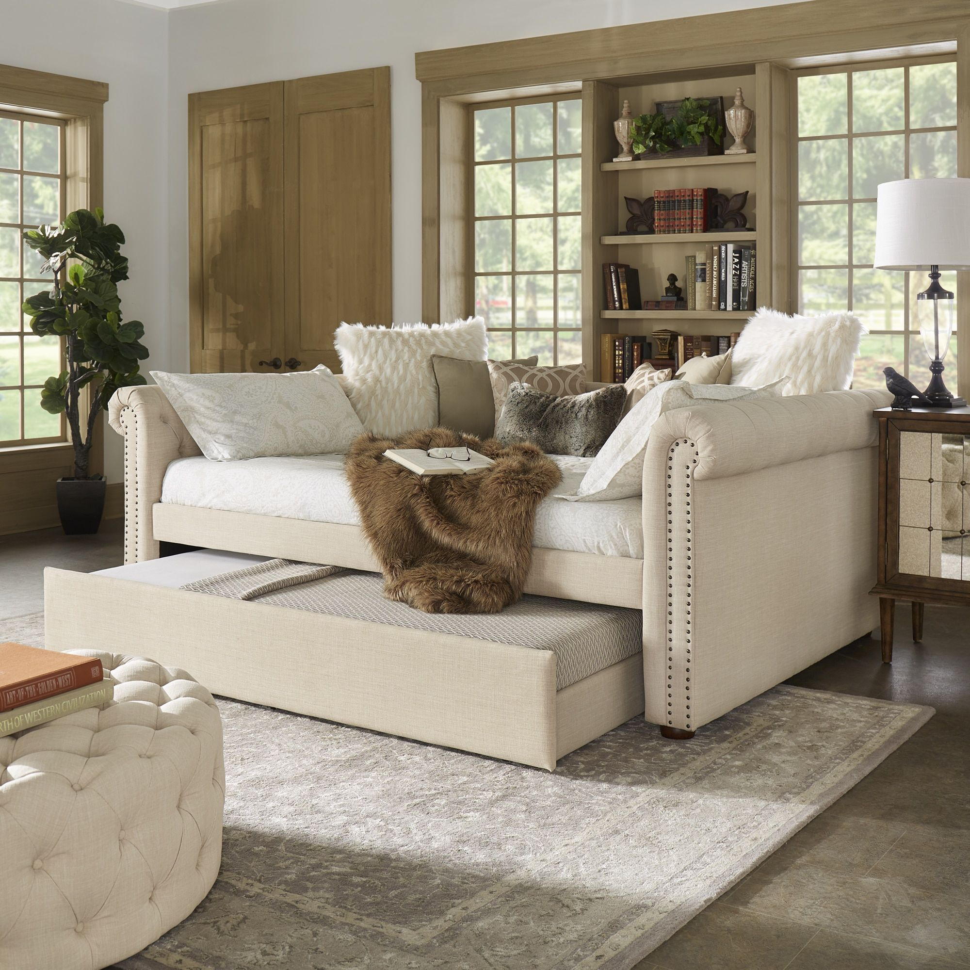 Knightsbridge Full Size Tufted Scroll Arm Chesterfield Daybed and Trundle  by iNSPIRE Q Artisan (Beige
