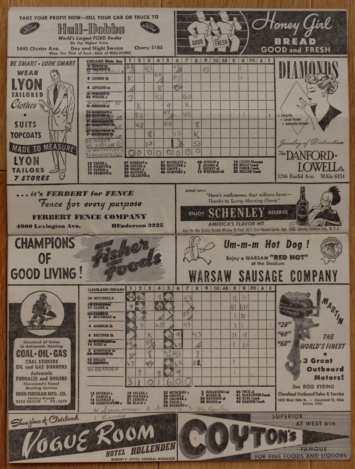 Cleveland Indians September  Scorecard Vs Chicago White Sox