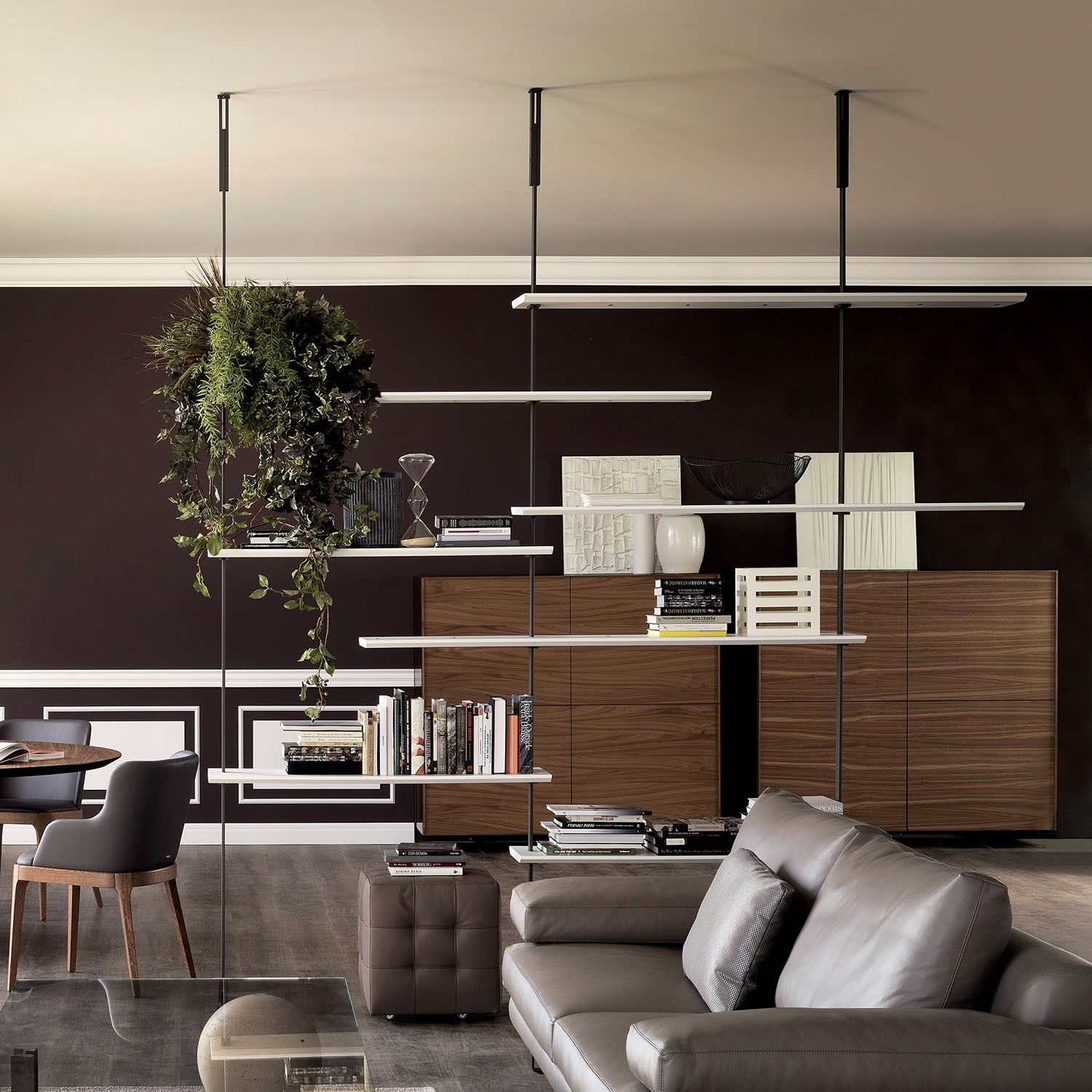 Libreria airport con montanti pavimento soffitto home cp for Idee di design di mobili contemporanei