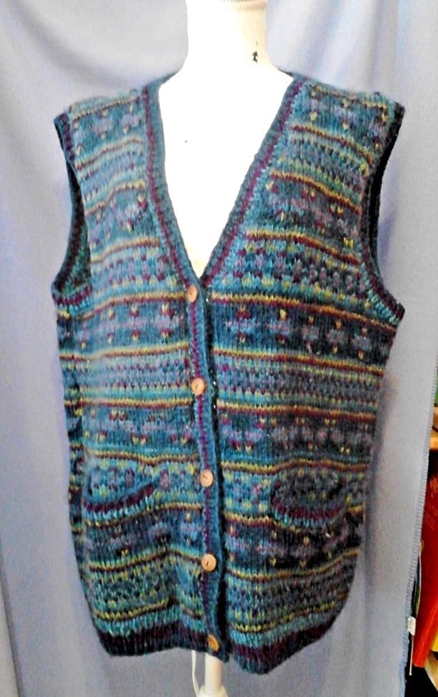 Lost Horizons Women Nordic Sweater Vest Hand Knit Nepal 100% Kettle Dyed Wool OS #LostHorizons #Cardigan