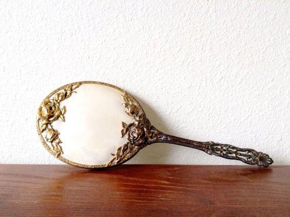 ornate hand mirror. Ornate Handheld Mirror Vintage Brass Hand By TreasuresDelMar Ornate Hand Mirror
