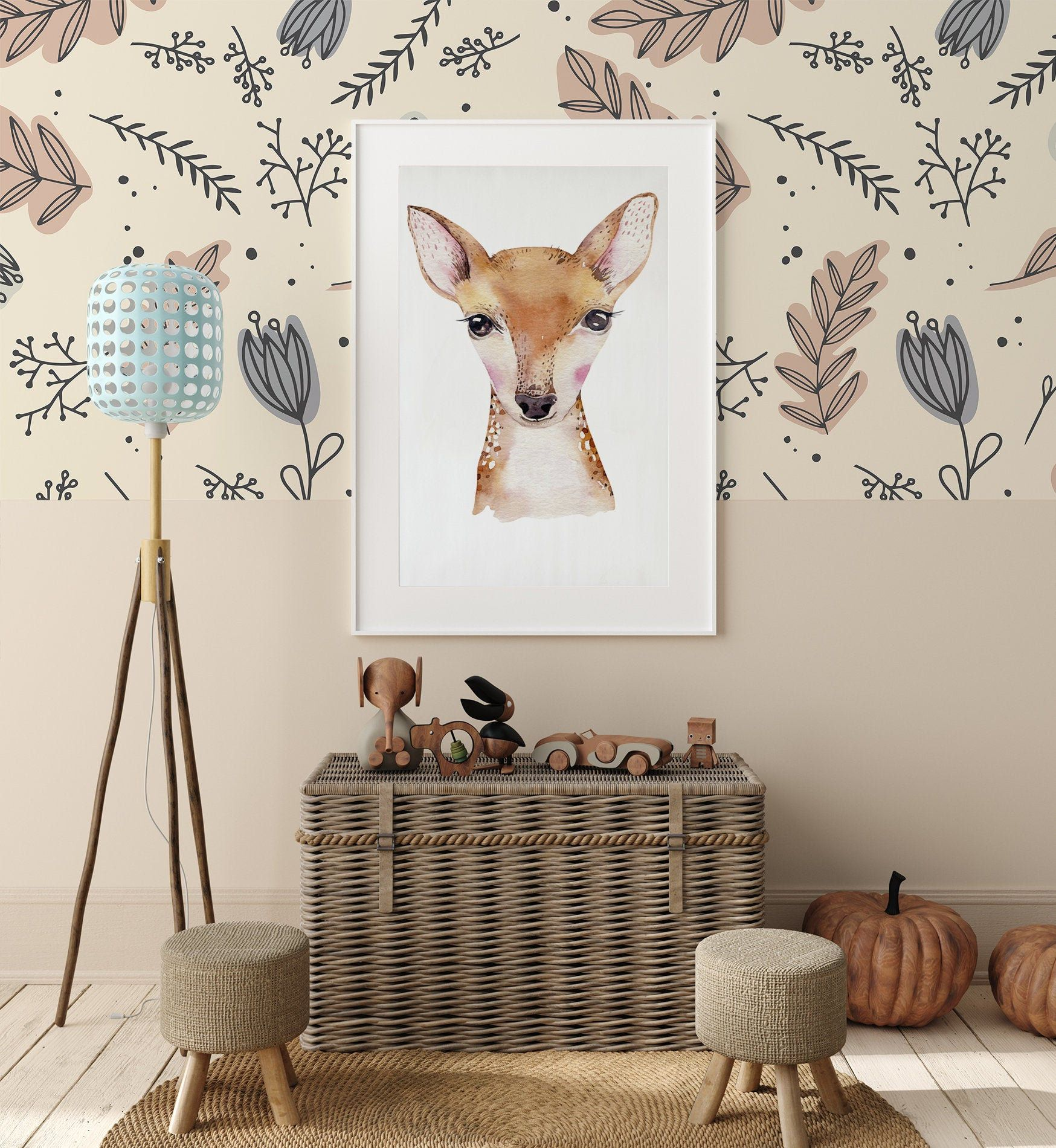 Kids Wallpaper With Autumn Leaves Peel And Stick Wallpaper Etsy In 2020 Art Wall Kids Kids Wallpaper Nursery Wall Murals