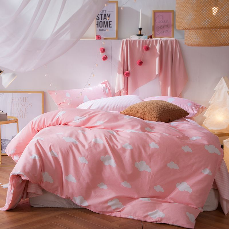 aoguhome store 4pcs sweet pink duvet cover 100% cotton twin double ... : twin pink quilt - Adamdwight.com