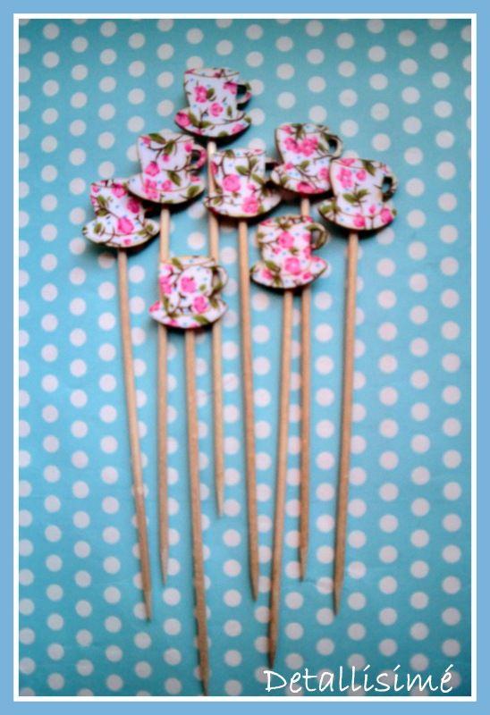 Palillos de madera con tacitas (12 cms) Perfectas para brochetas