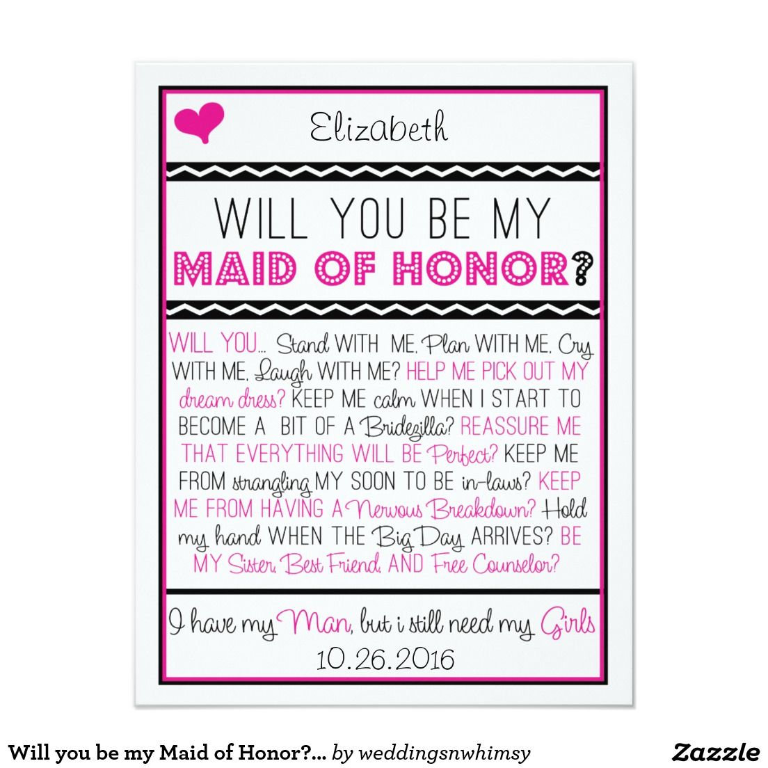 Will you be my Maid of Honour? Pink/Black Collage Card | Pink black ...
