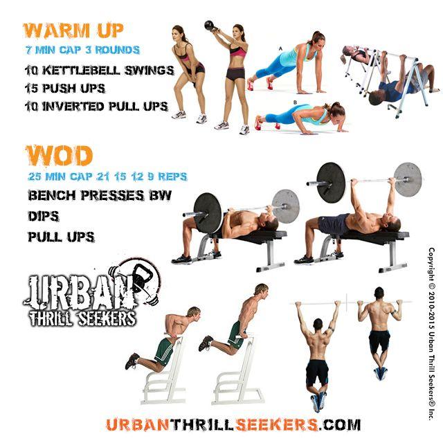 10 kettlebell swings 15 push ups 10 inverted pull ups bench