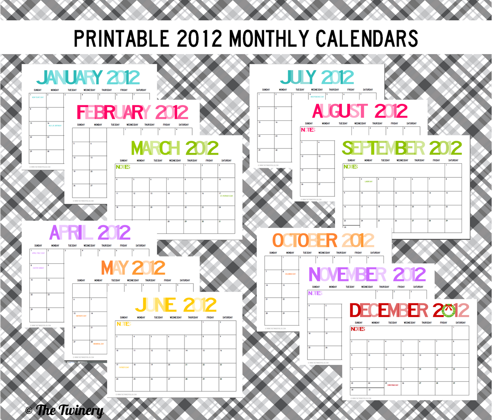 2012 Monthly Printable Calendar Teaching Pinterest Printable