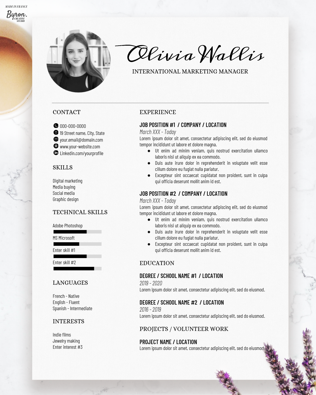 Clean, trendy & beautiful CV Resume + Cover Letter