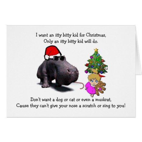 Funny Hippo Hippopotamus Wants Kid Christmas Card Christmas