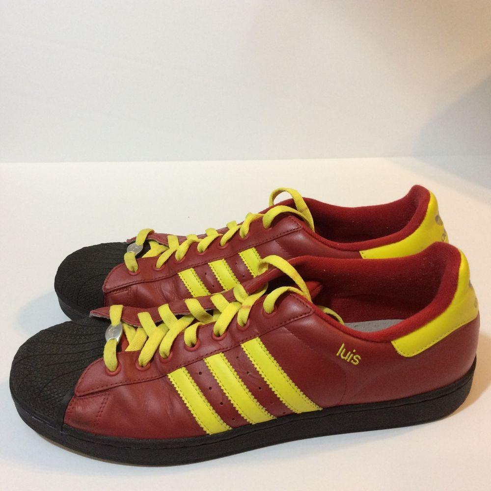 MI Adidas Originals Superstar Luis Bright Red Yellow Custom Sneakers Shoes  13.5 #Adidas #FashionSneakers