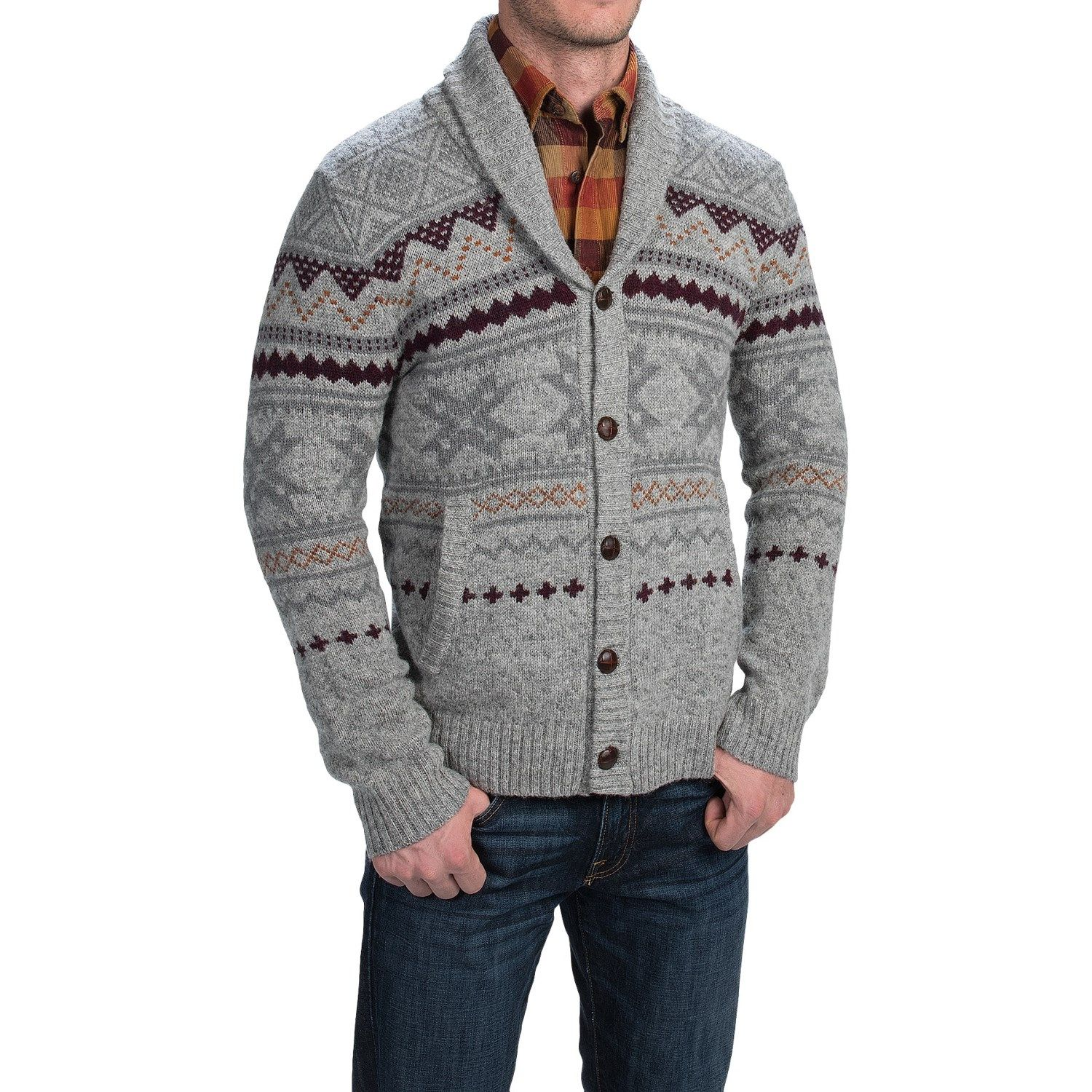 Woolrich Ultra-Line Fair Isle Cardigan Sweater - Button Front ...