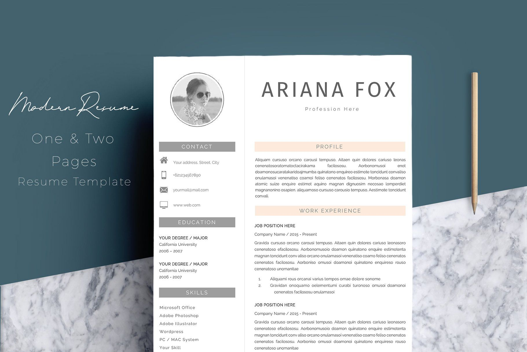 resume template 4 pages templateresumetemplatespages