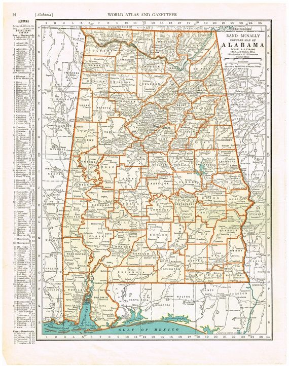 Antique Map ALABAMA 1935 Map Page Buy 3 Maps Get 1 Free