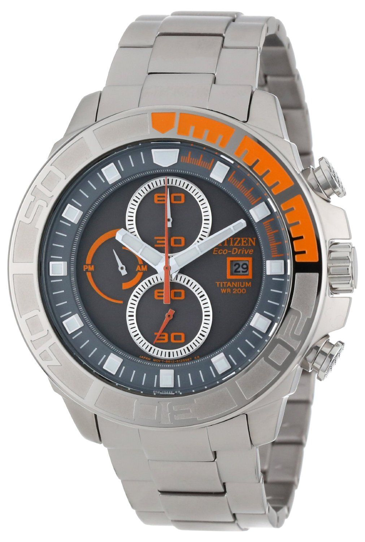 4722f600855 Citizen Men s CA0520-53H Eco-Drive Super Titanium Chronograph Watch ...