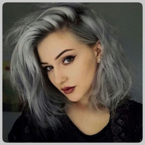 Grey And Purple Hair Tumblr Is The Unique Photograph Of Hair Color Ideas Posted And Uploaded In Grey Hair Category Of Granny Hair Hair Dye Colors Hair Styles
