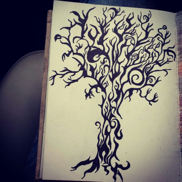 tribal design tree drawing with sharpie