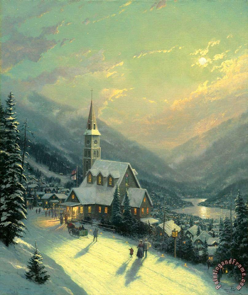thomas kinkade christmas village | Moonlit Village painting - Thomas ...
