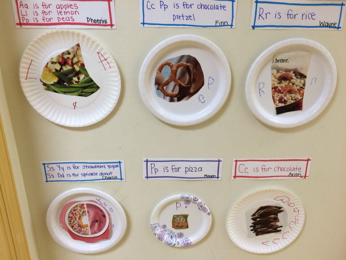 Paper plates · We read  Eating the Alphabet  then looked through cooking/food magazines cut & We read
