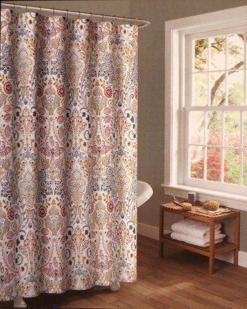 Shower Curtain Fabric Nicole Miller 72 X 72 Jacobean Damask Teal